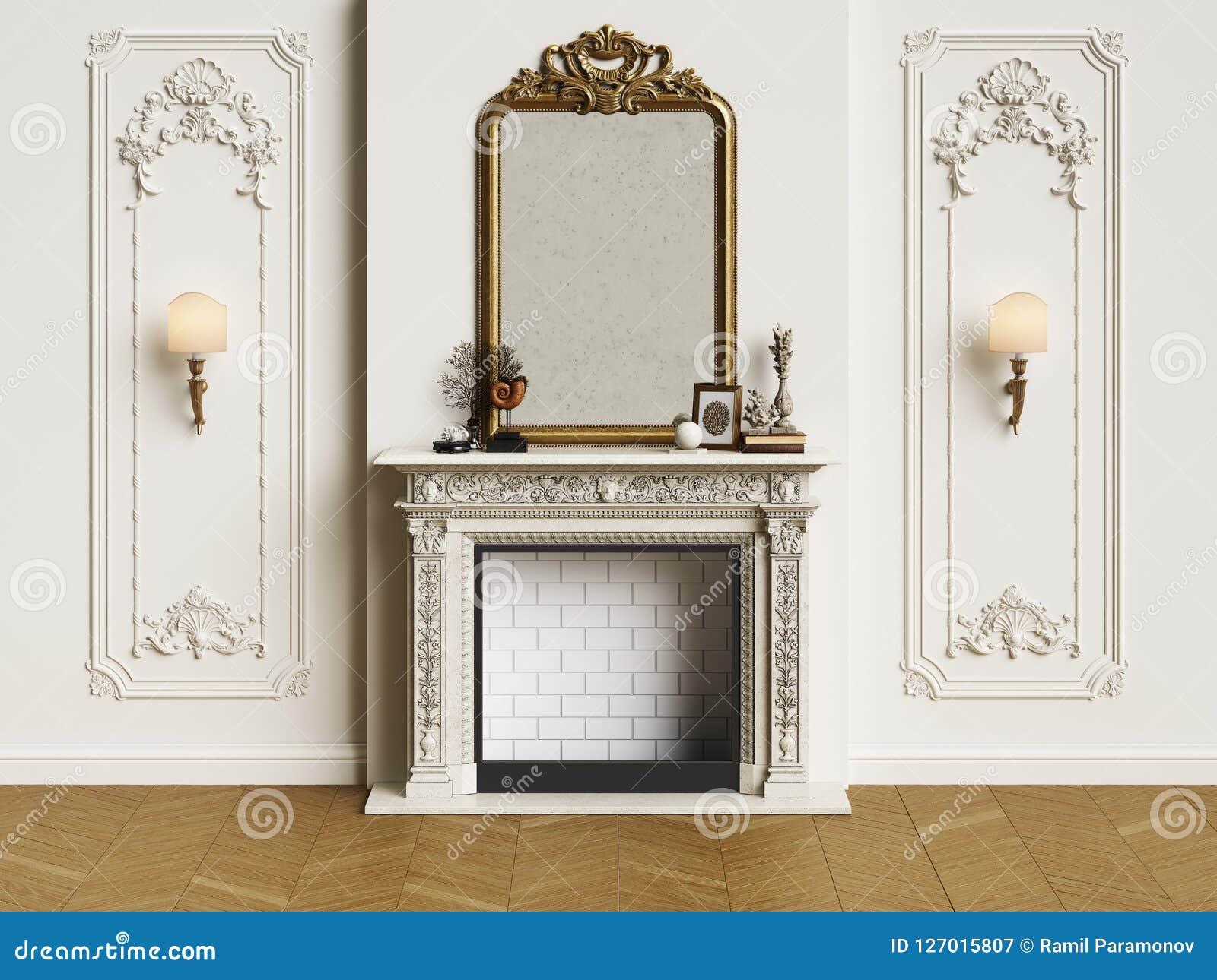 Intérieur classique avec la cheminée
