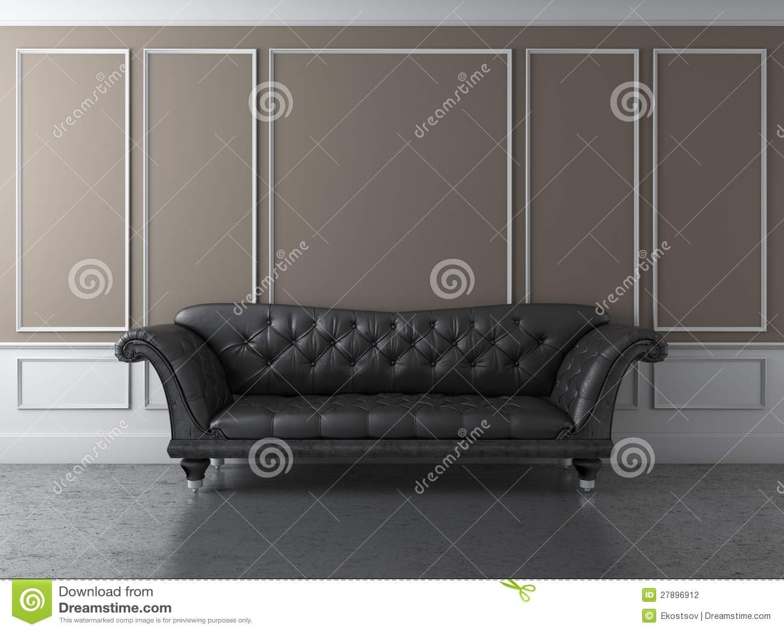 Intérieur classique avec le sofa noir