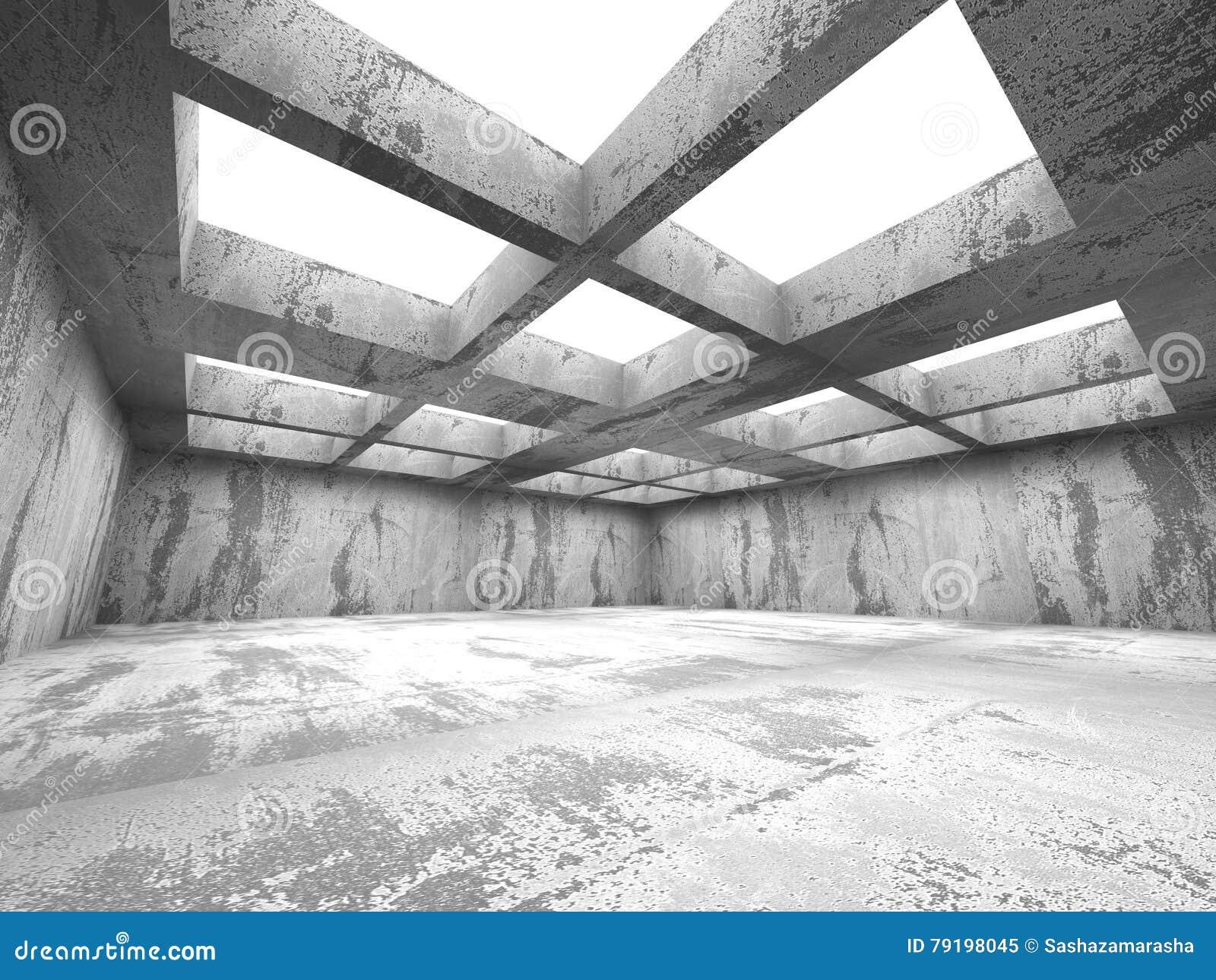 Intérieur concret sombre vide de pièce Architecture urbaine abstraite