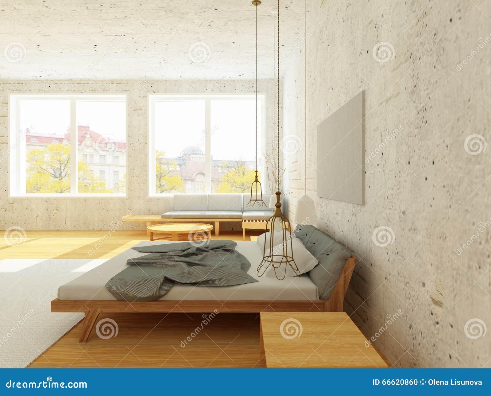 Intérieur Confortable De Chambre à Coucher Dans Le Style Scandinave ...