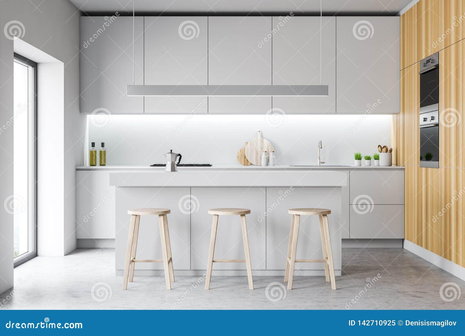 Intérieur confortable moderne de cuisine de conception avec des meubles 3d rendent