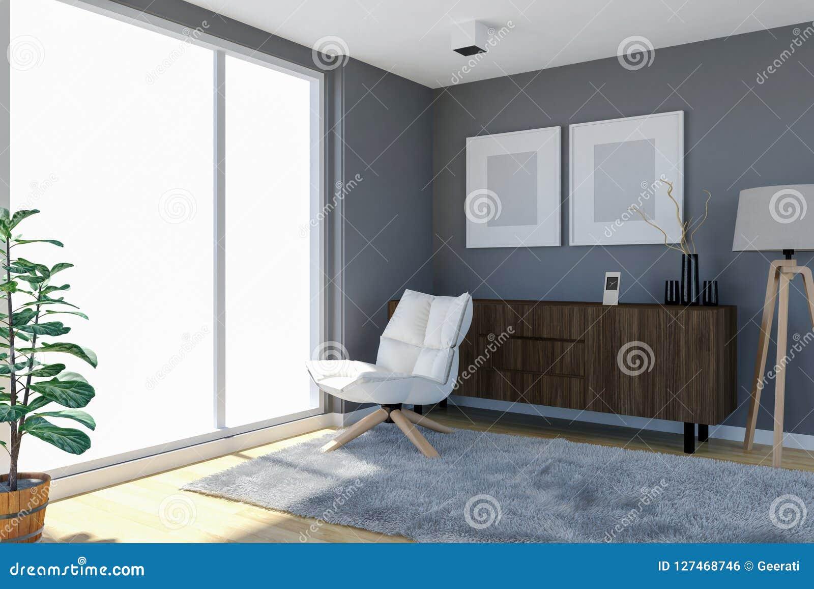 Intérieur Contemporain De Salon Avec Le Mur Gris Et Les Grandes ...