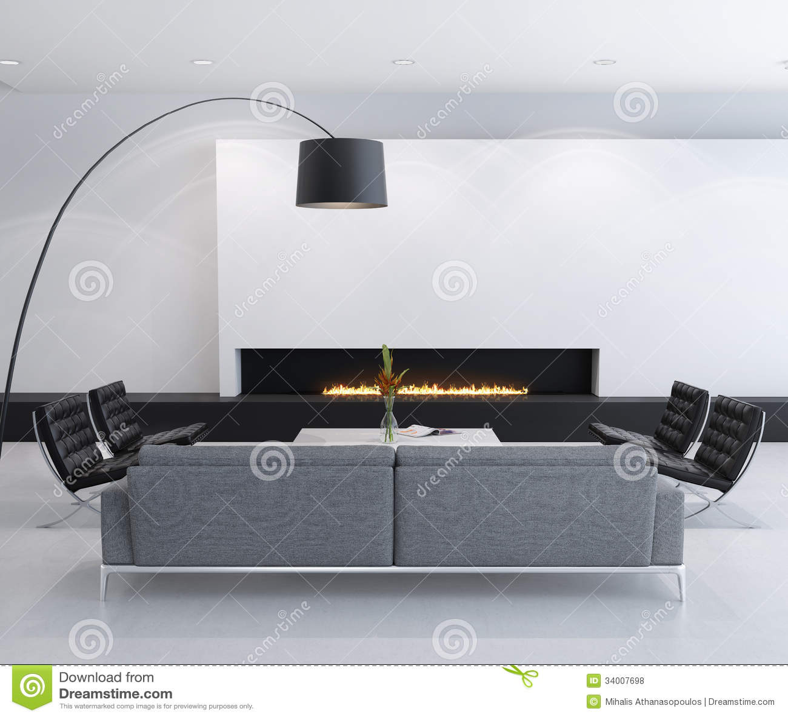 Int rieur contemporain minimal de foyer au gaz salon for Interieur contemporain photo