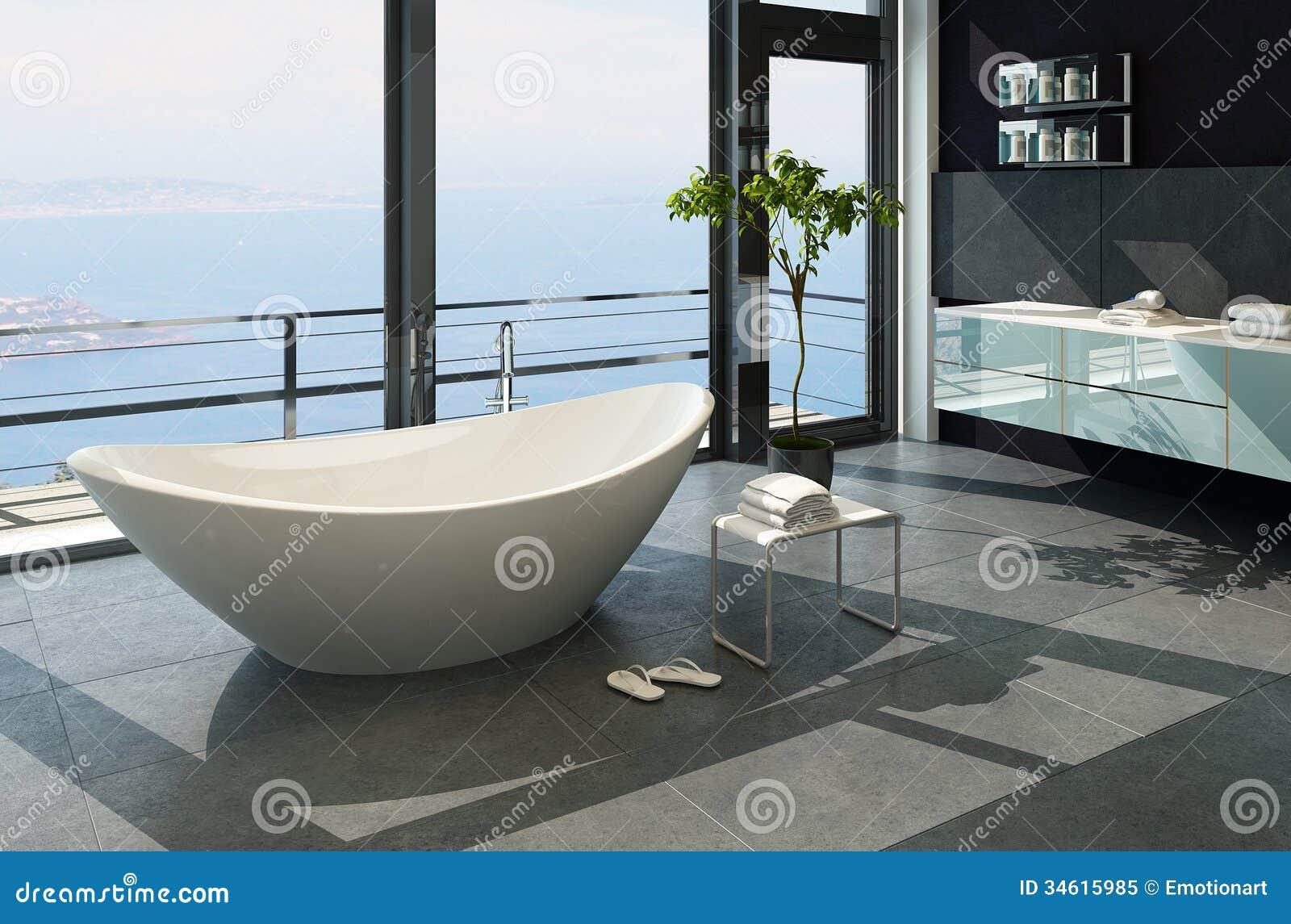 Intérieur contemporain ultramoderne de salle de bains de conception avec la  vue de mer