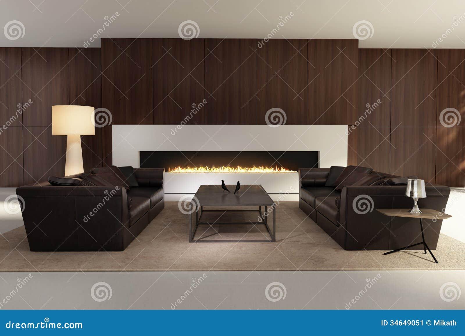 Int Rieur Contemporain Un Salon Avec Une Chemin E Image Stock Image 34649051