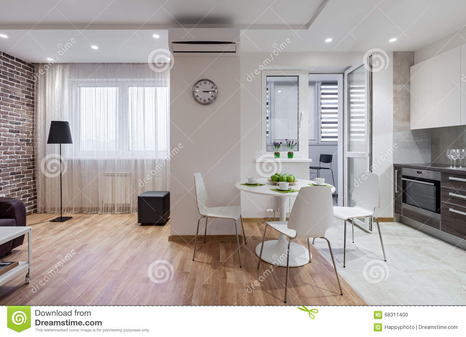 Int rieur d 39 appartement moderne dans le style scandinave avec la cuisine photo stock image du - Maison style scandinave ...