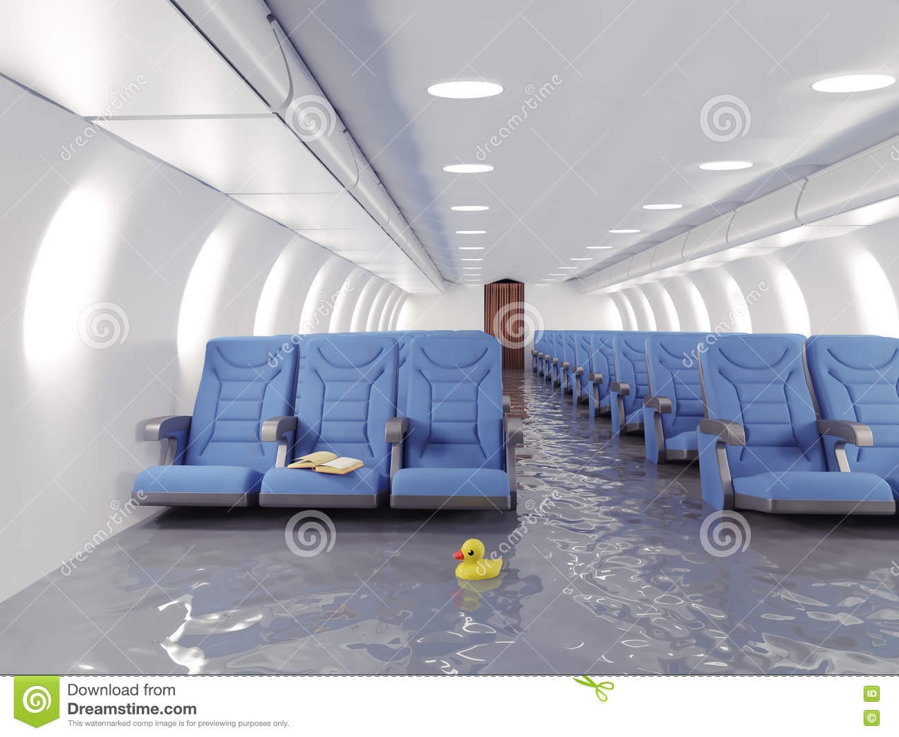 Int rieur d 39 avion d 39 inondation illustration stock image for Interieur d avion