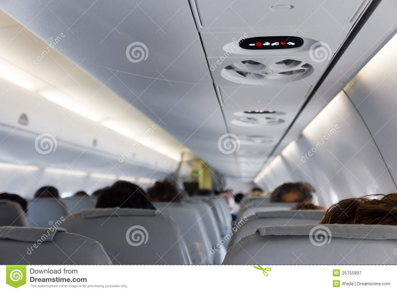 Int rieur d 39 avion de passager photographie stock libre de for Interieur d avion