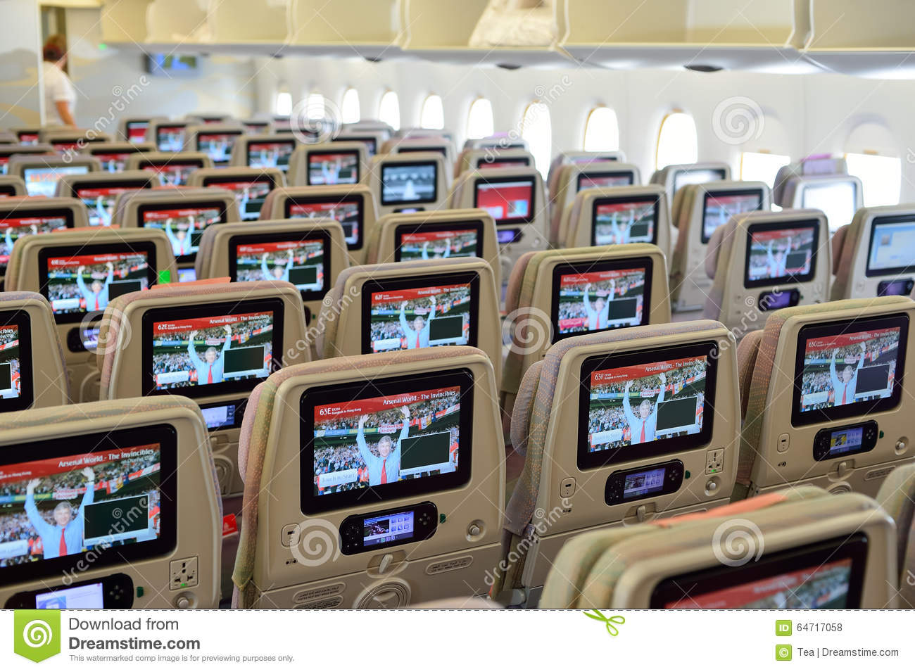 Int rieur d 39 avions d 39 airbus a380 d 39 mirats photo stock for Interieur airbus a380
