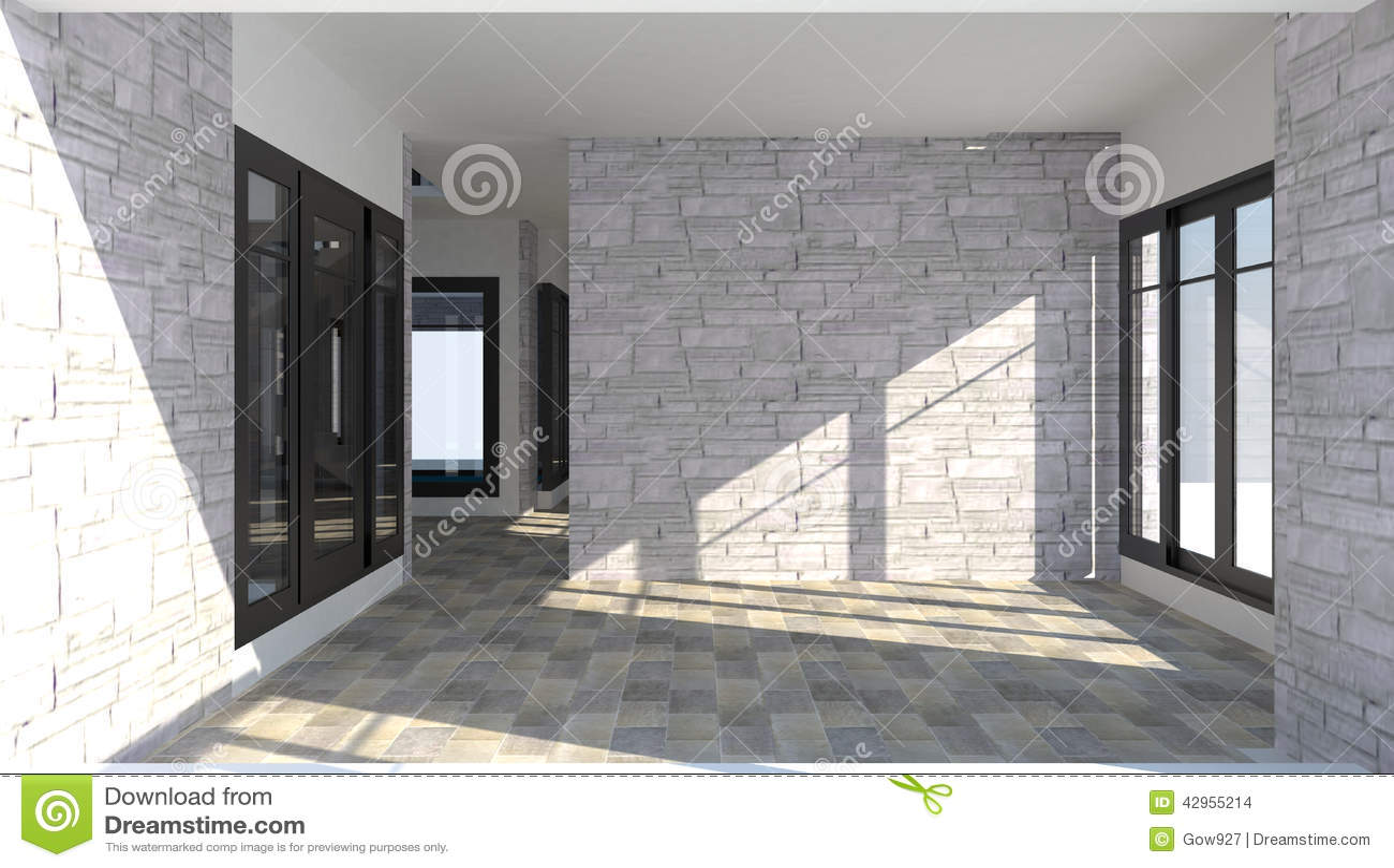 Intérieur 3d de la salle à l intérieur d une maison moderne de brique illustration stock