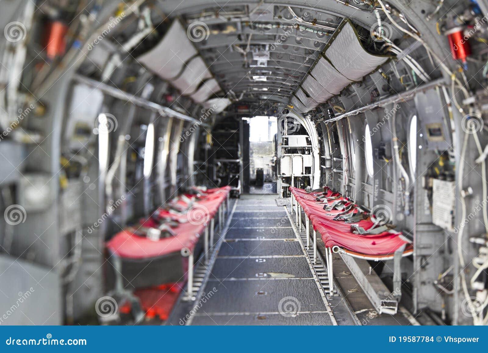 Intérieur D\'hélicoptère De Chevalier De La Mer H-46 Photo stock ...