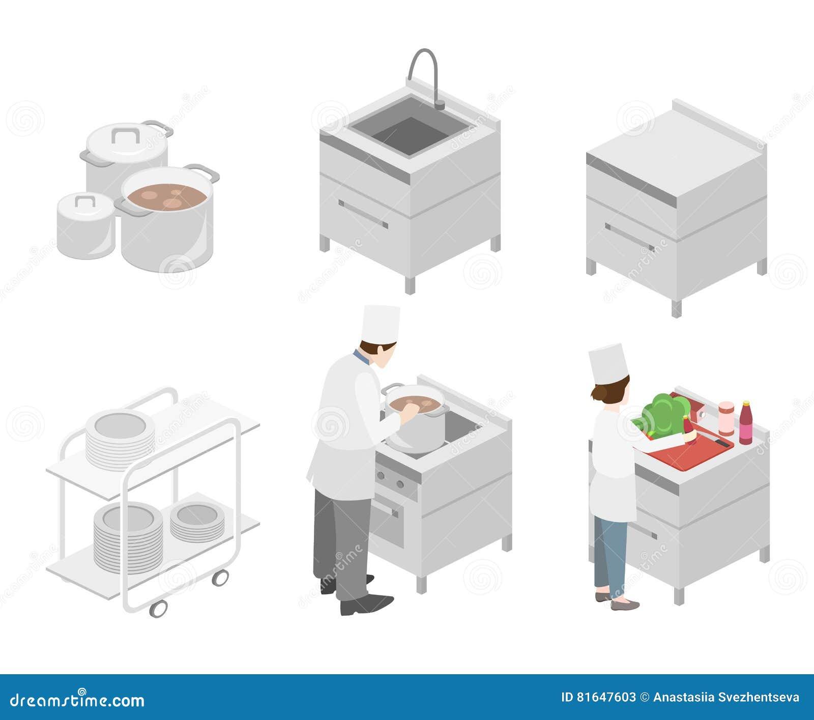 intérieur 3d plat isométrique de cuisine professionnelle de