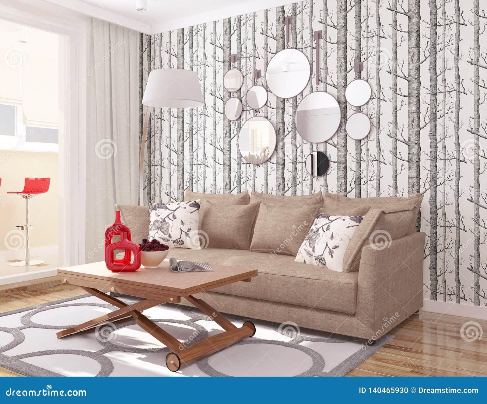 Bande Papier Peint Salon intérieur 3d salon moderne avec le chou d'arbre de papier