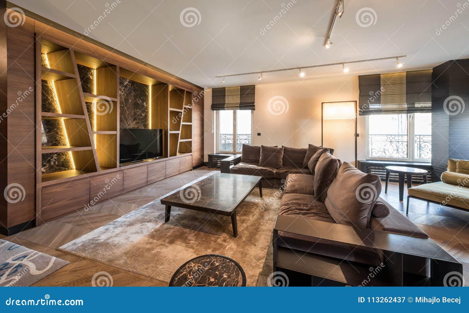 Interieur De Luxe Appartement intérieur d'un appartement de luxe, salon ouvert moderne de