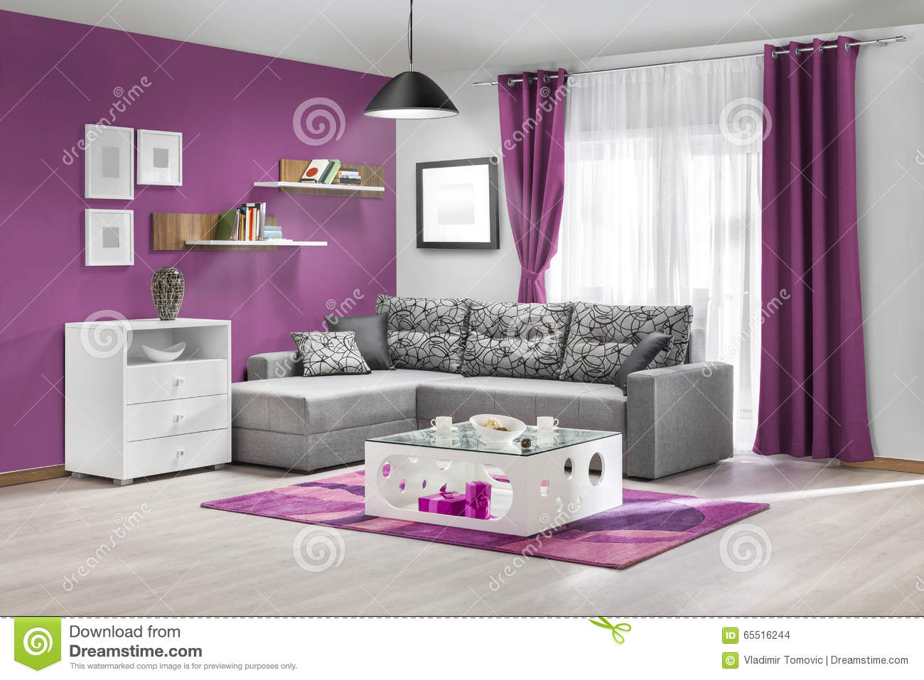 int rieur d 39 un salon moderne en couleurs photo stock image 65516244. Black Bedroom Furniture Sets. Home Design Ideas