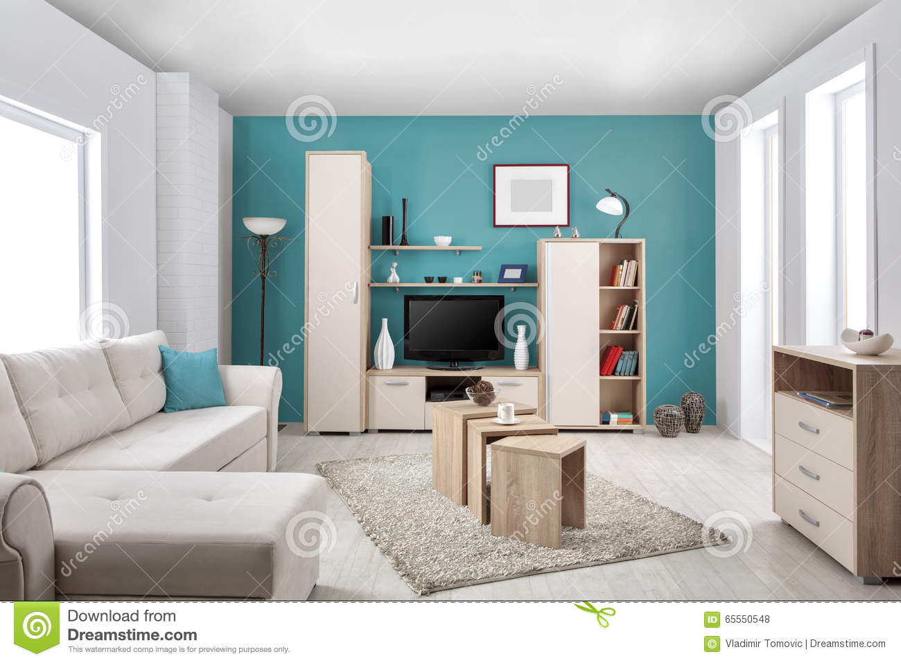 Int rieur d 39 un salon moderne en couleurs photo stock for Decoration de salon interieur