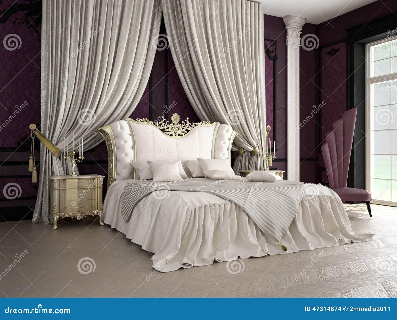 Intérieur d une chambre à coucher classique de style dans le luxe photo stock