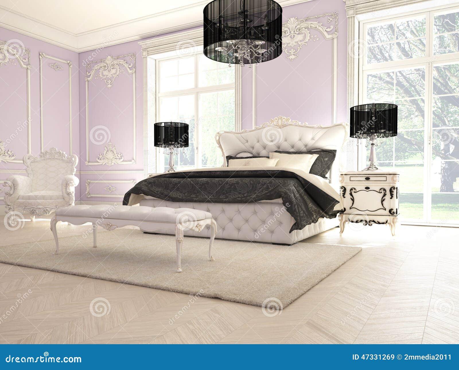 Intérieur D\'une Chambre à Coucher Classique De Style Dans Le Luxe ...