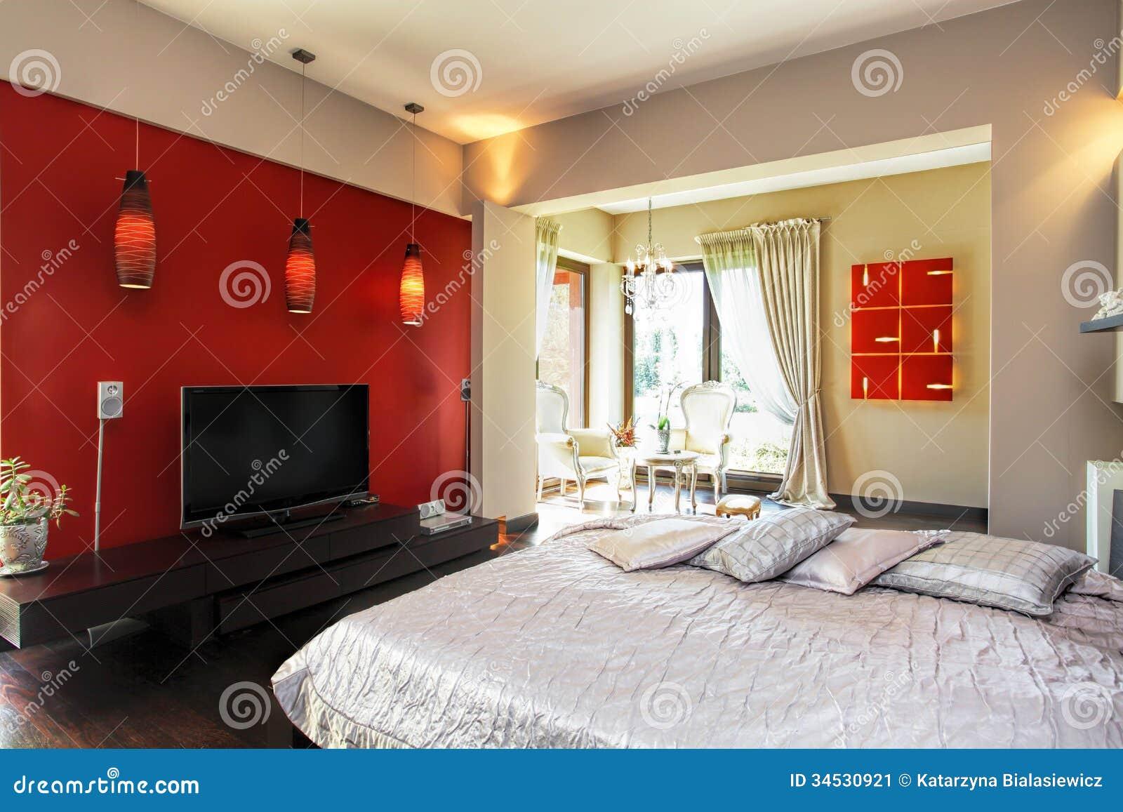 Intérieur Du0027une Chambre à Coucher Rouge Et Blanche Moderne
