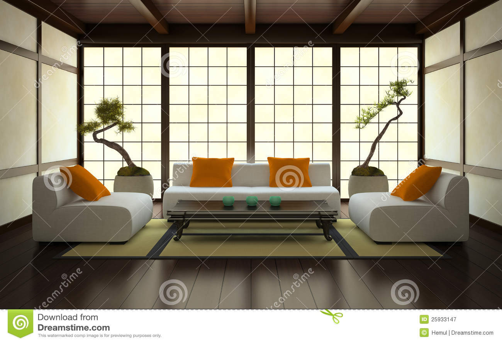 int rieur dans le type japonais photographie stock libre. Black Bedroom Furniture Sets. Home Design Ideas