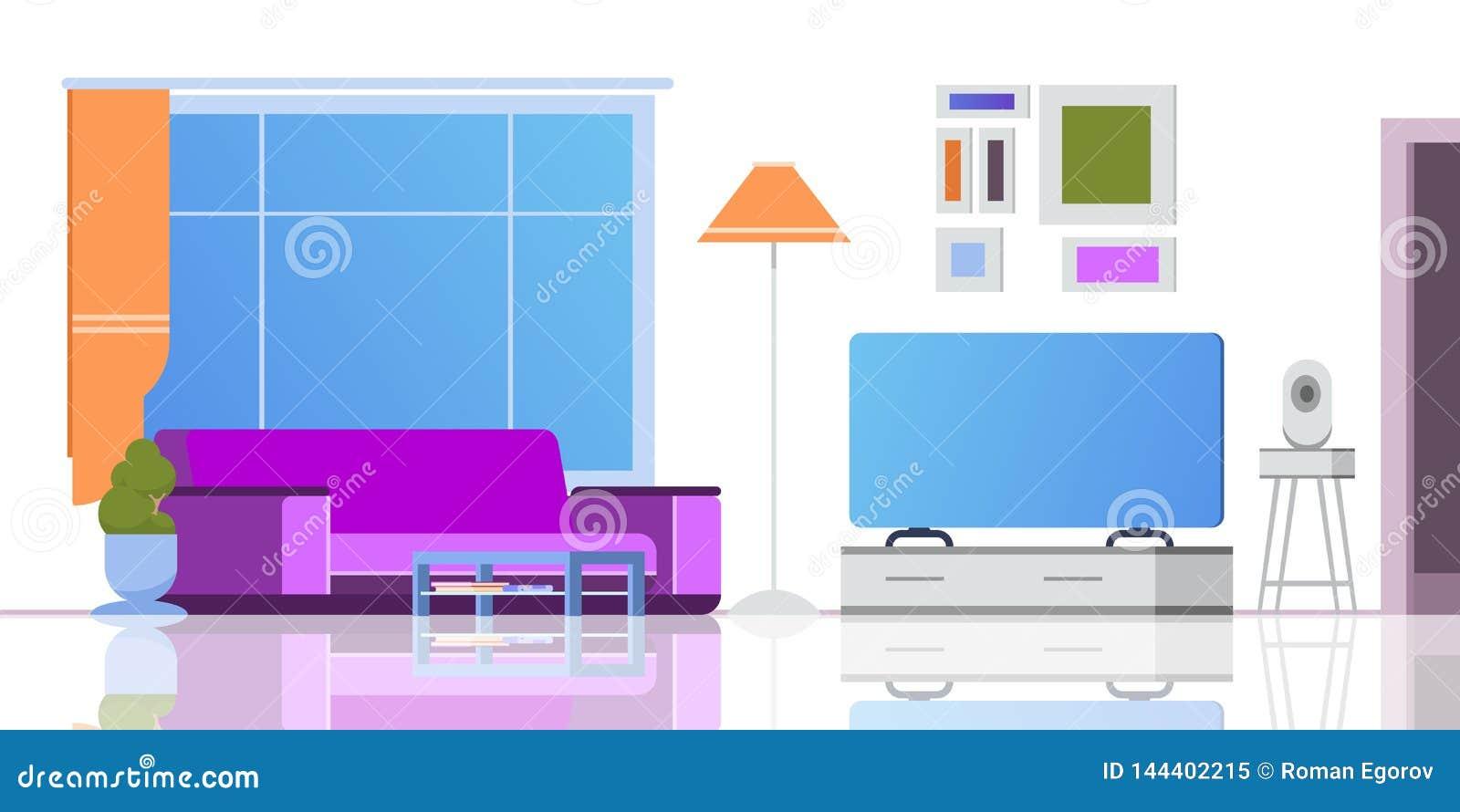 Intérieur de bande dessinée de salon Vue de luxe et malpropre de divan confortable de grenier d appartement de rétro fenêtre mode