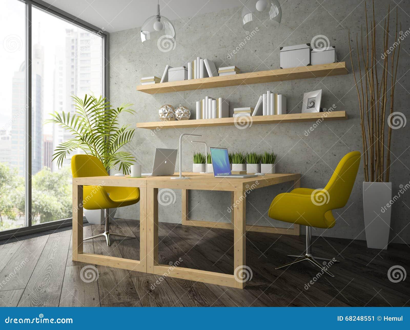 Intérieur de bureau moderne avec deux le rendu jaune du fauteuil 3d