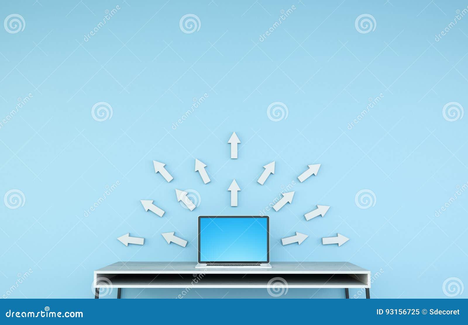 Intérieur de bureau moderne avec lordinateur portable et le rendu