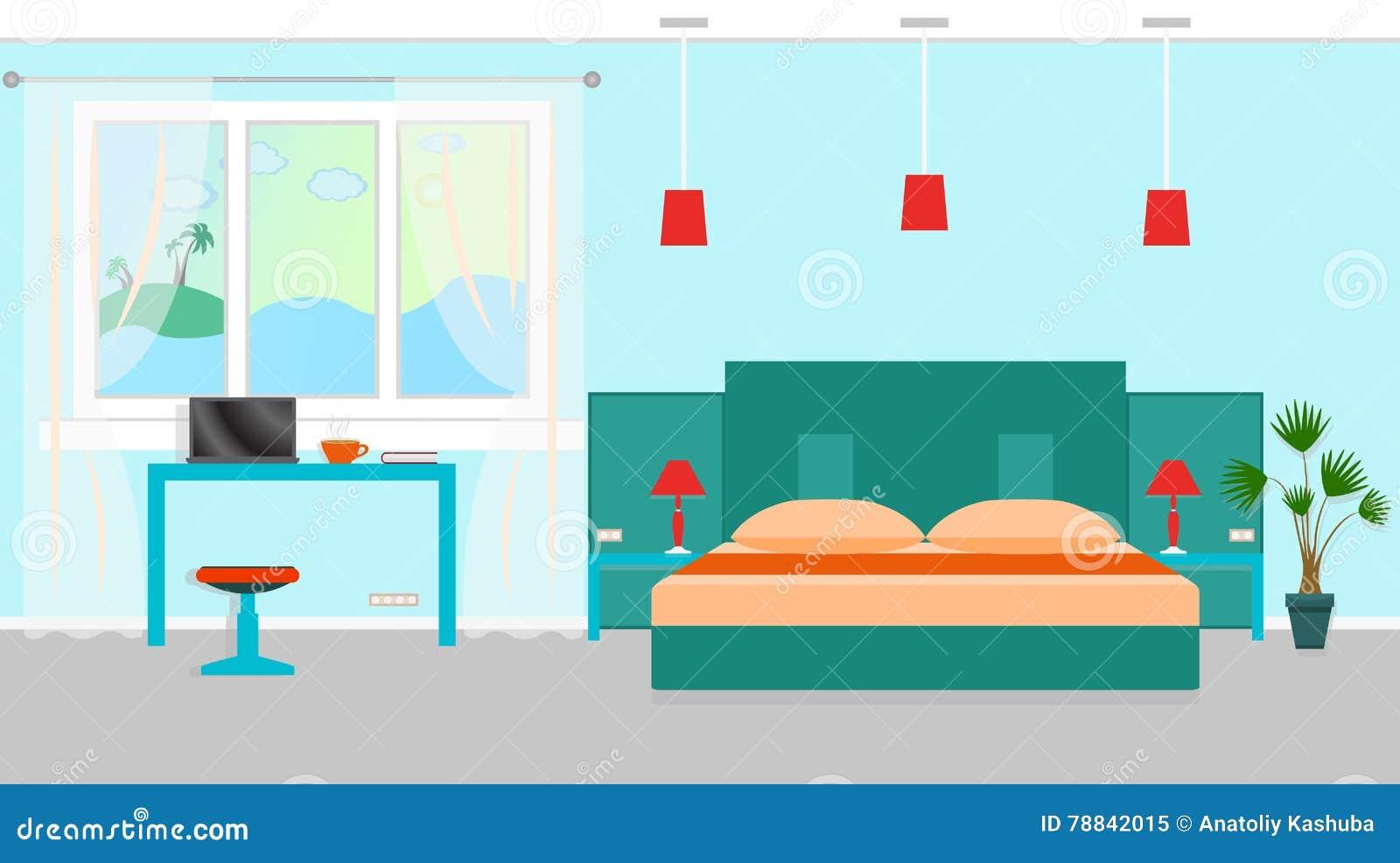 Interieur De Chambre A Coucher Avec Des Meubles Et Lieu De Travail