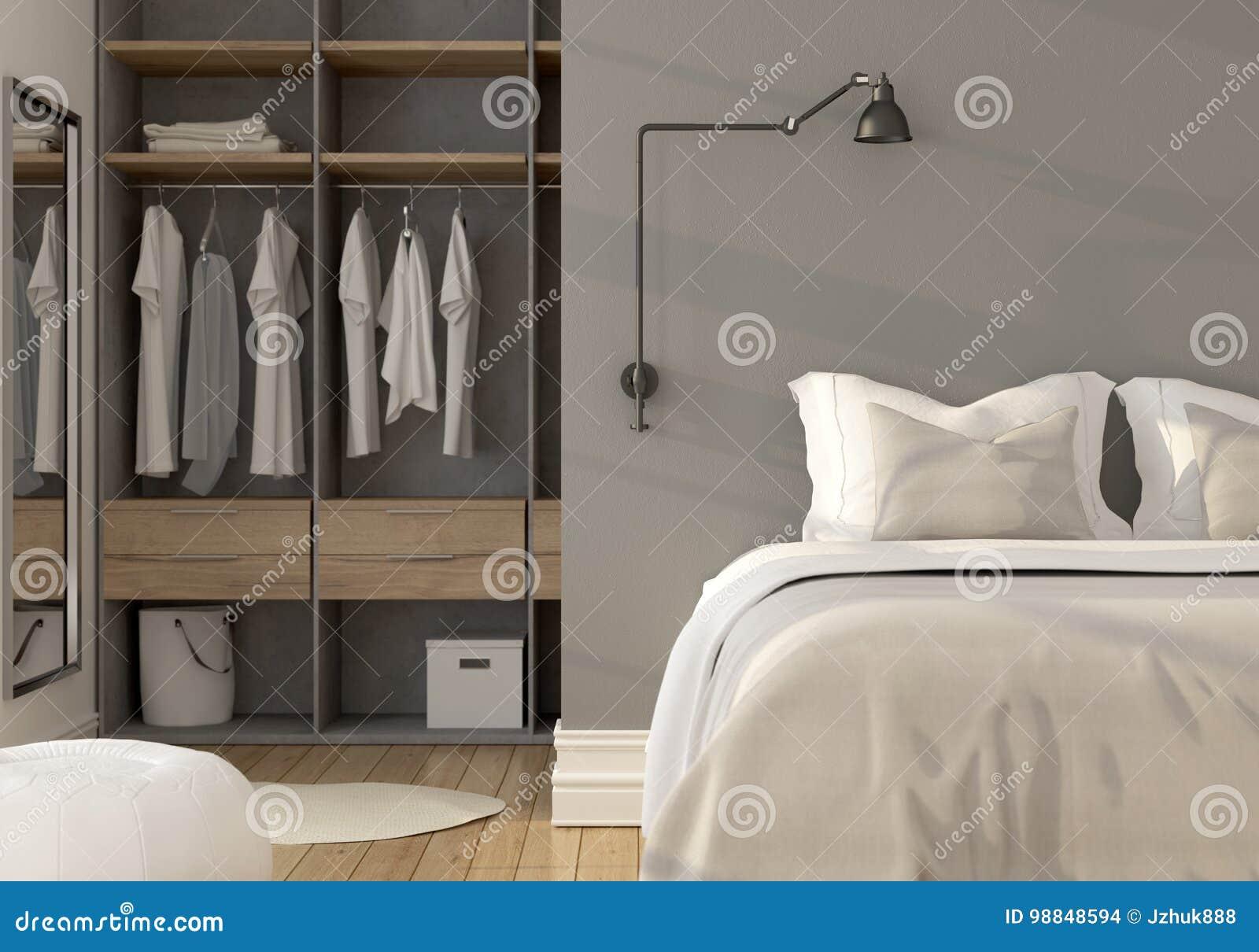 Intérieur De Chambre à Coucher Avec La Garde Robe Illustration Stock