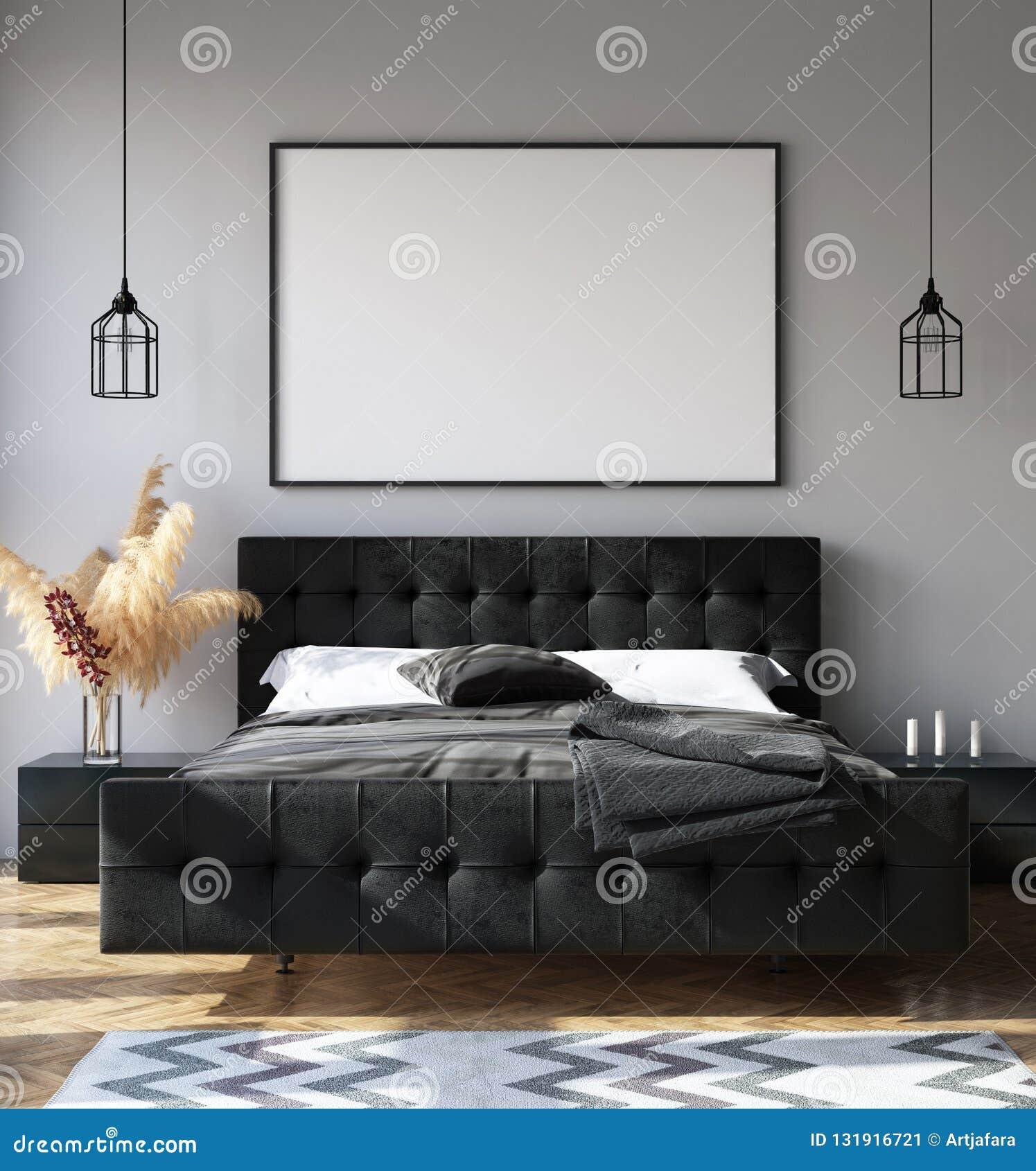 Intérieur De Chambre à Coucher Avec La Maquette D\'affiche ...