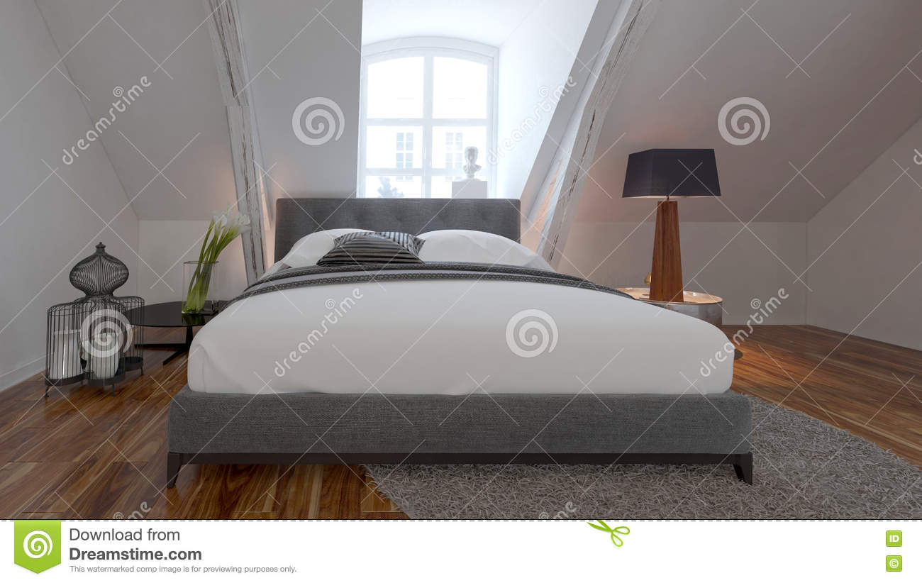 int rieur de chambre coucher avec le lit sous une pente de toit photo stock image du. Black Bedroom Furniture Sets. Home Design Ideas