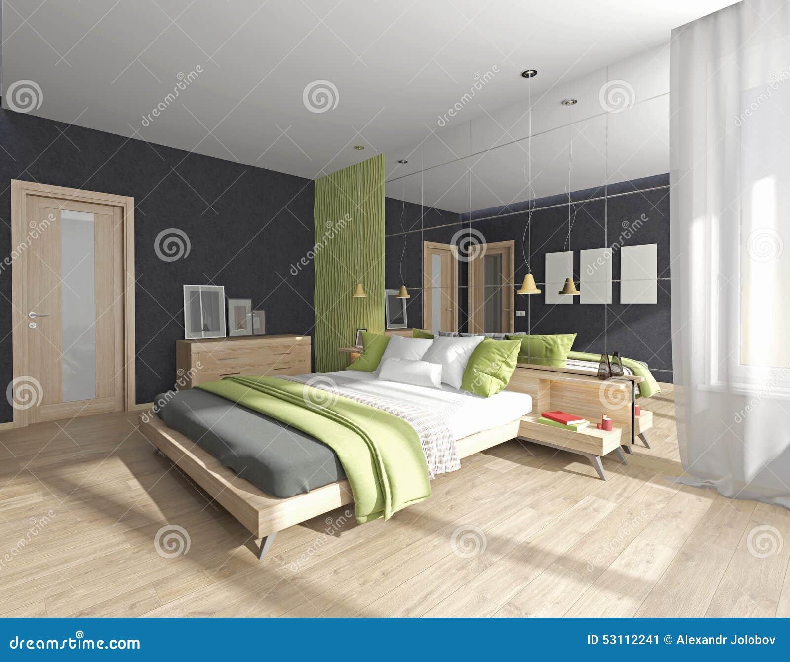 Int rieur de chambre coucher avec le miroir illustration for Interieur de chambre a coucher