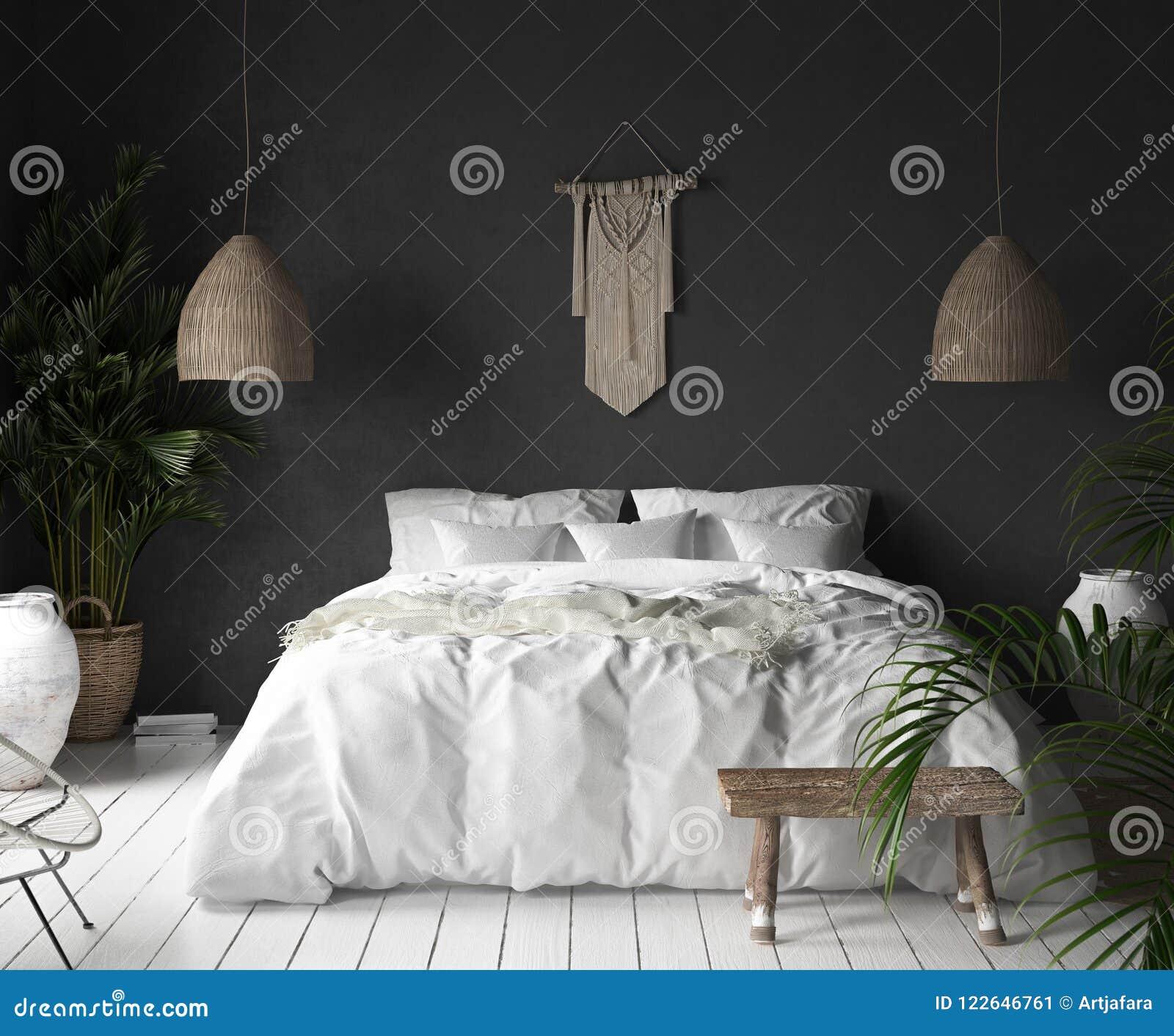 Intérieur De Chambre à Coucher Avec Le Mur Noir, Le Décor De ...