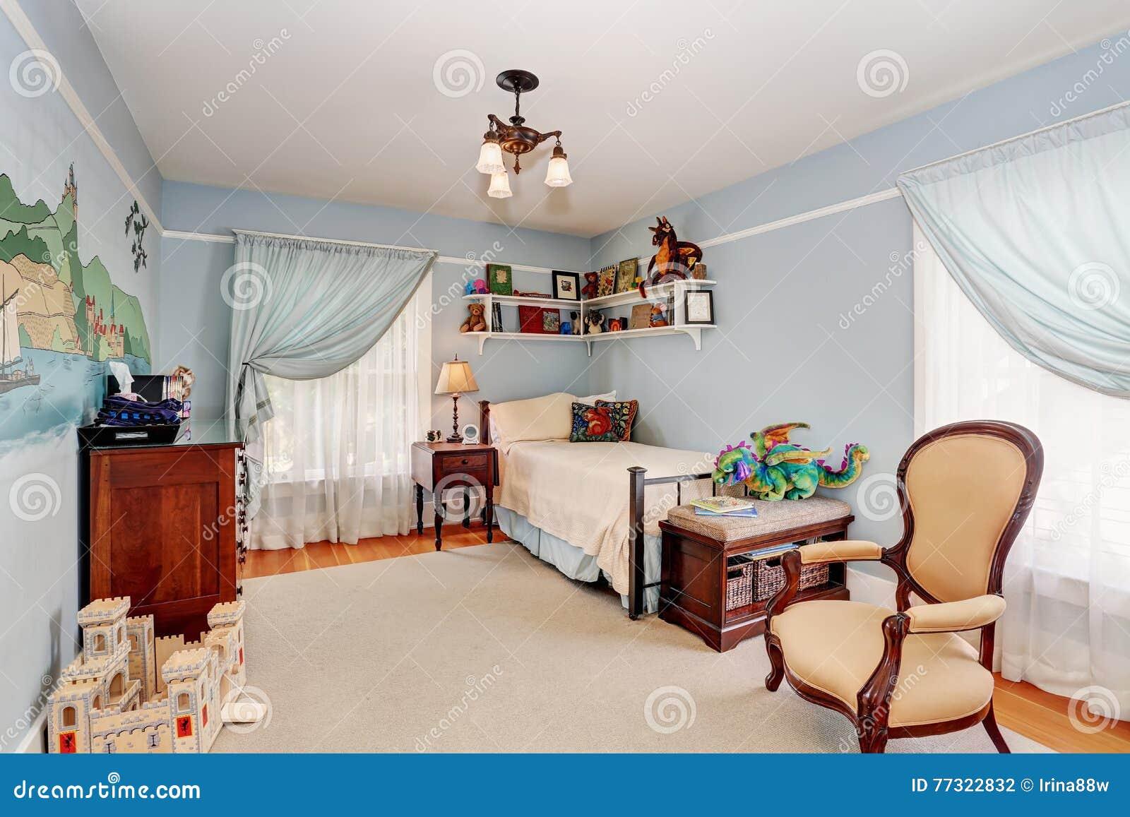 Intérieur De Chambre à Coucher D\'enfants Dans Des Tons Bleus Avec ...