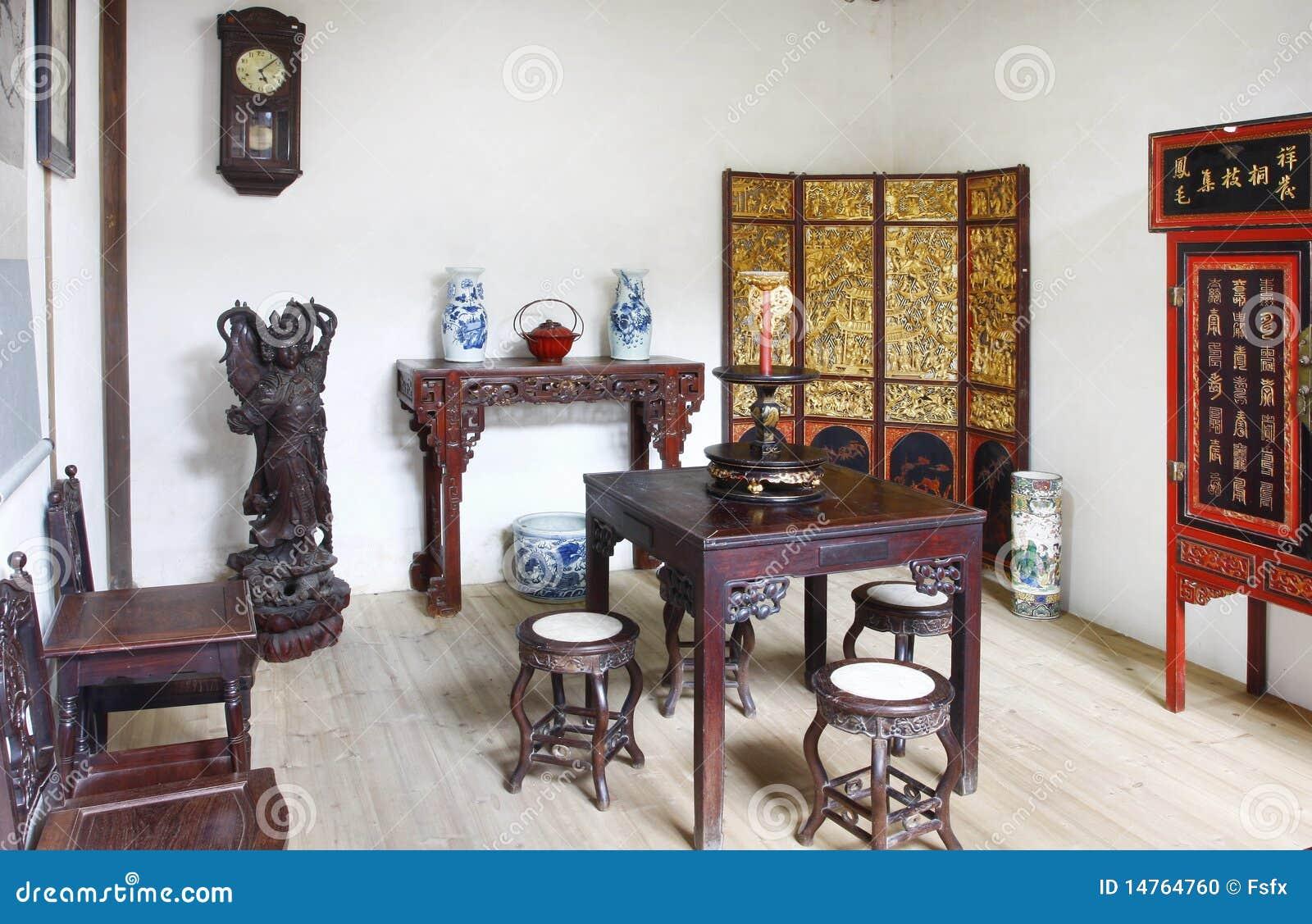 Intérieur de construction de vieille maison chinoise