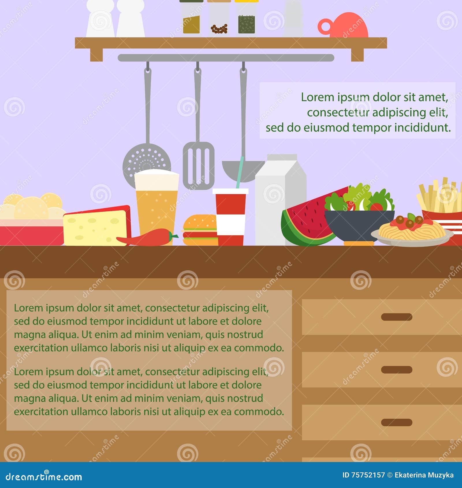 Int rieur de cuisine avec des meubles illustration de for Outil de conception cuisine