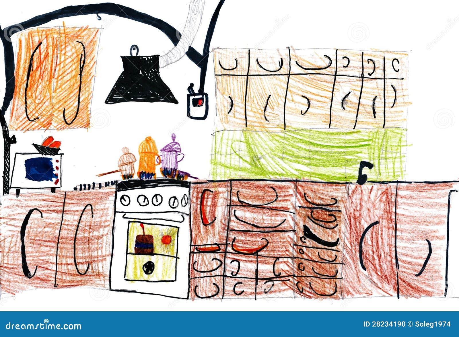Interieur De Cuisine Dessin D Enfants Illustration Stock