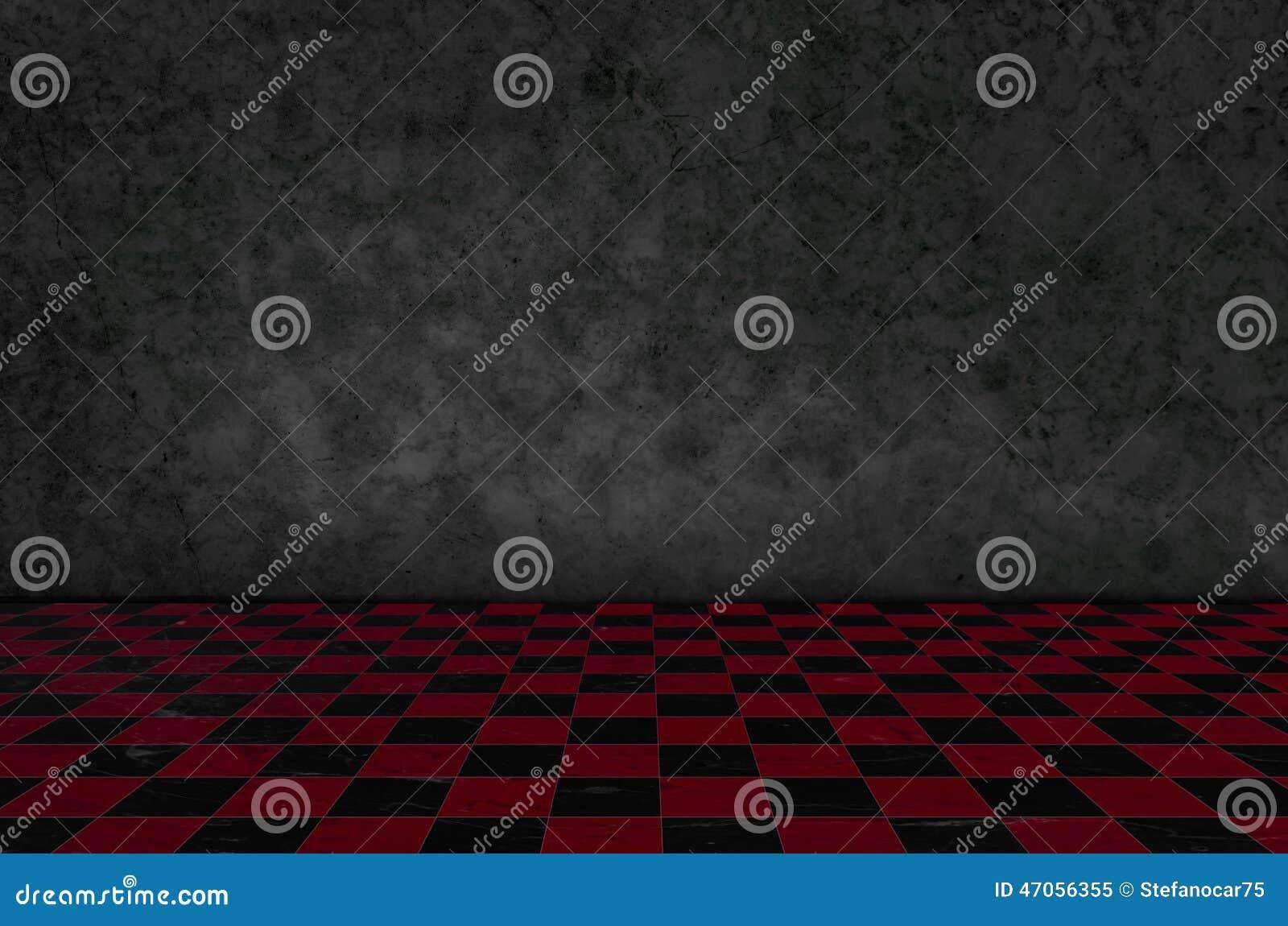 Intérieur de fond d échecs dans une chambre noire et mousse sur le mur