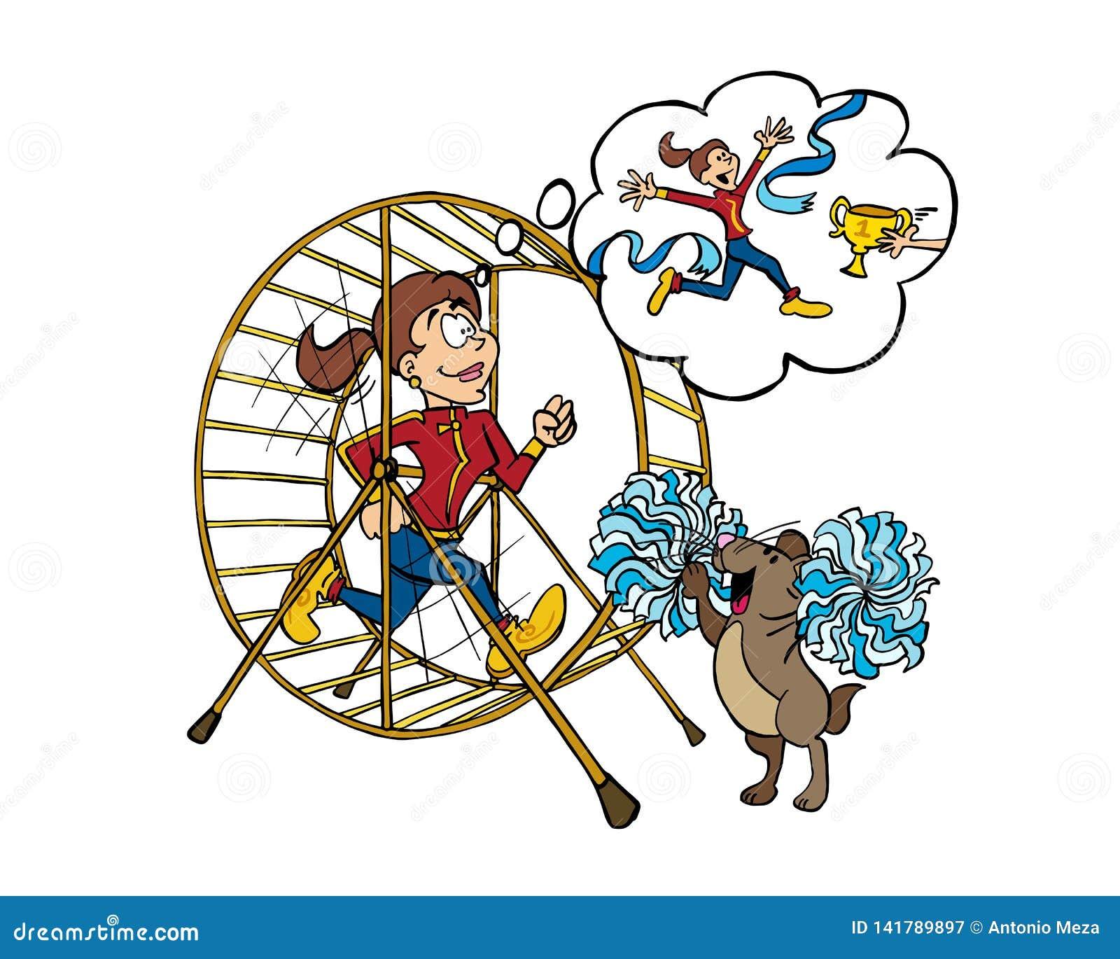 Intérieur de formation de jeune femme d une roue de hamster