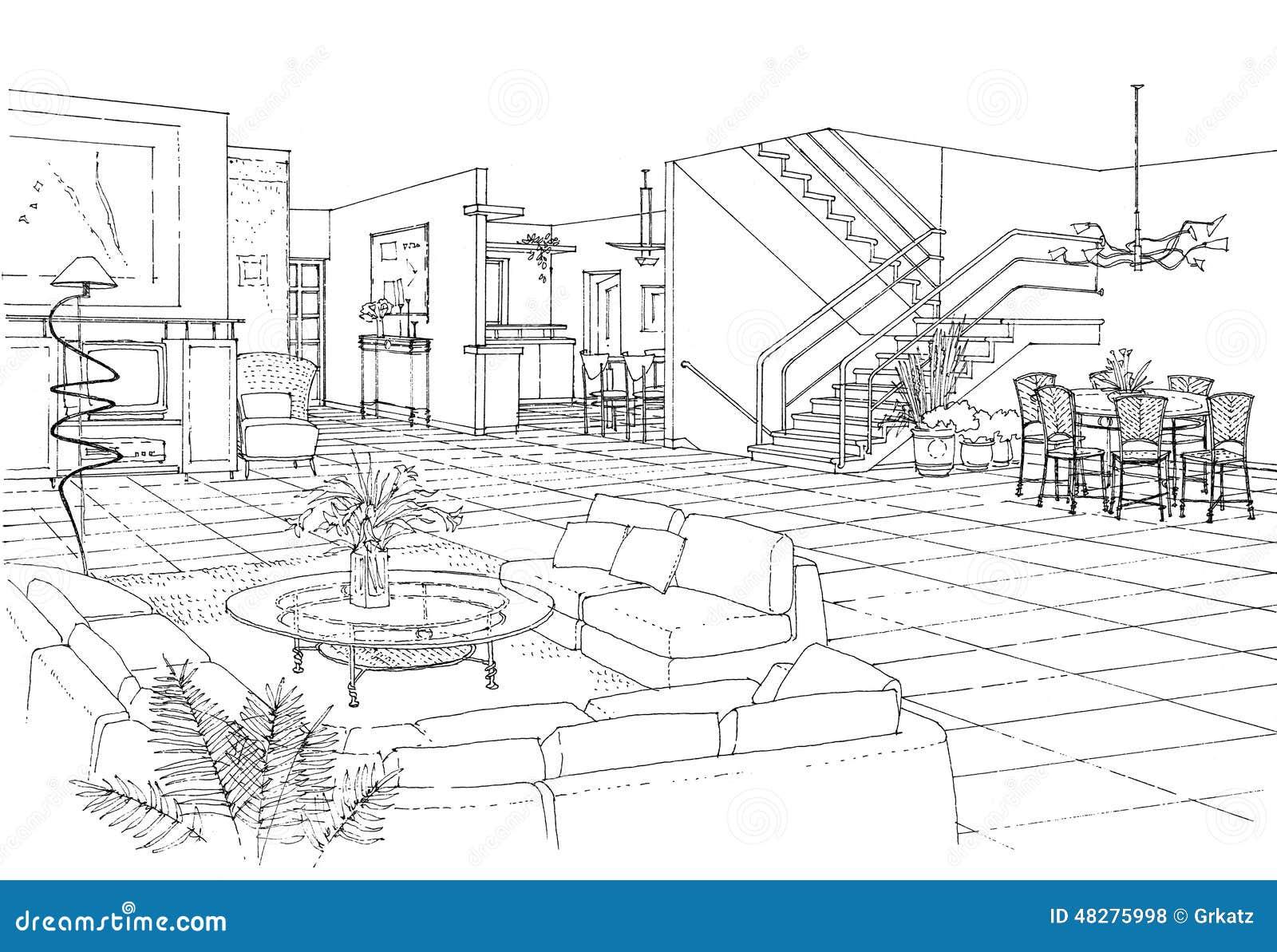 Int rieur de l 39 appartement illustration stock image for Dessin architecture interieur