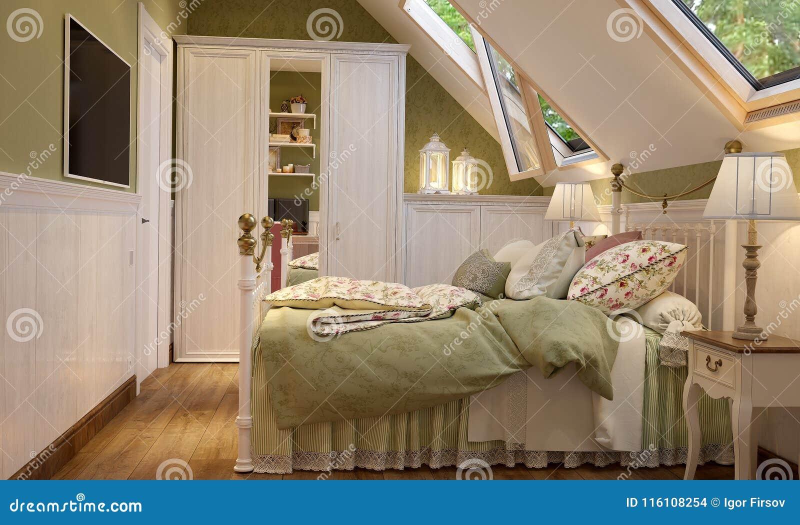 Interieur De La Chambre A Coucher En Vert De Style De La