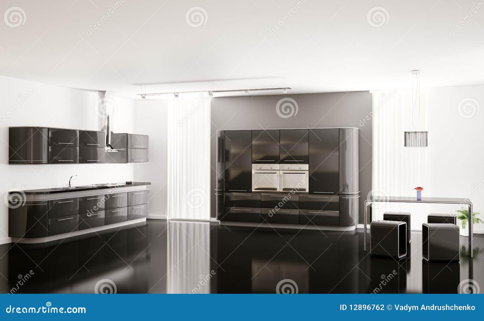 Int rieur de la cuisine noire moderne 3d photographie for Interieur cuisine moderne