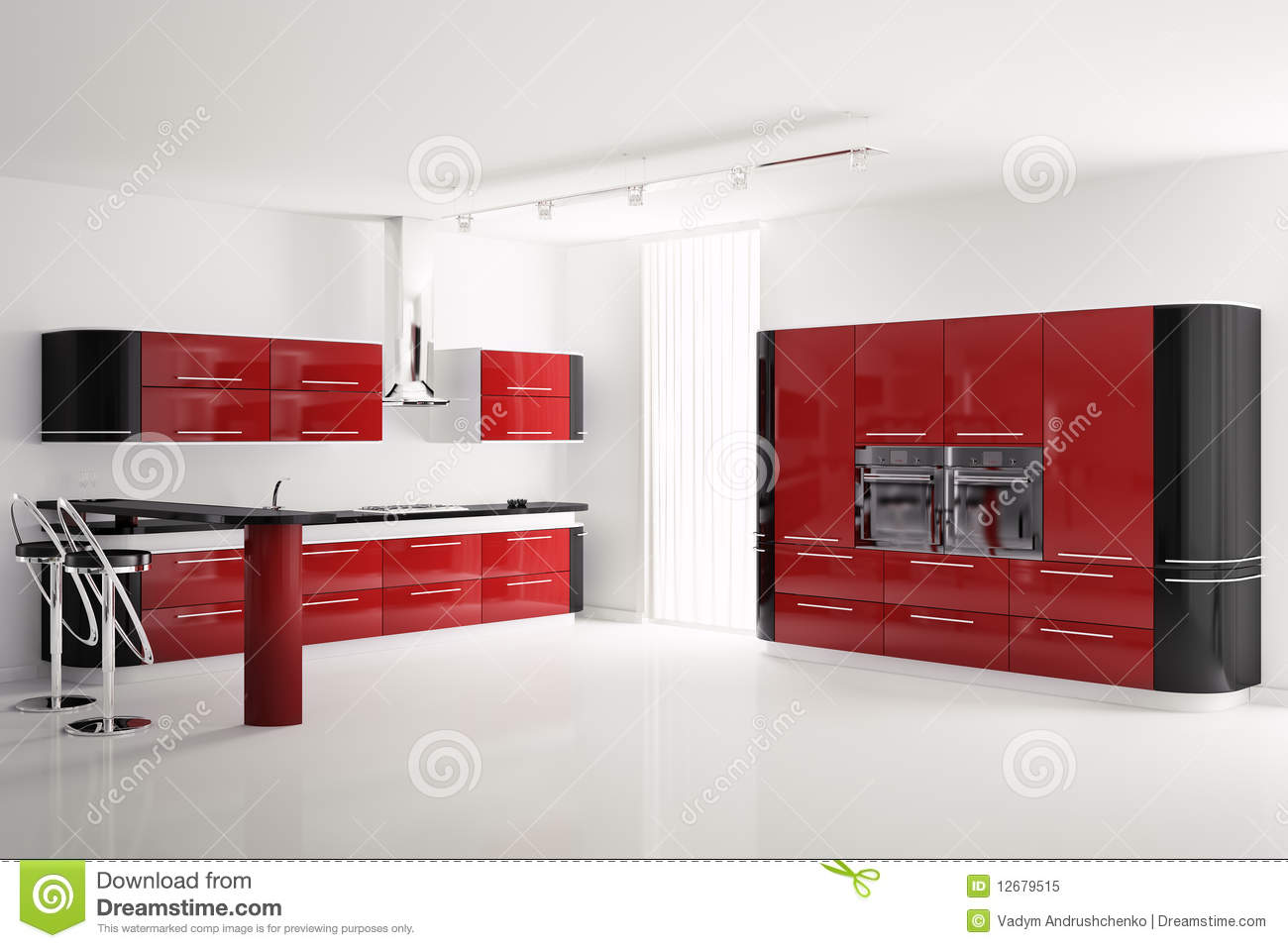 Int rieur de la cuisine noire rouge moderne 3d photo libre for Cuisine rouge 3d