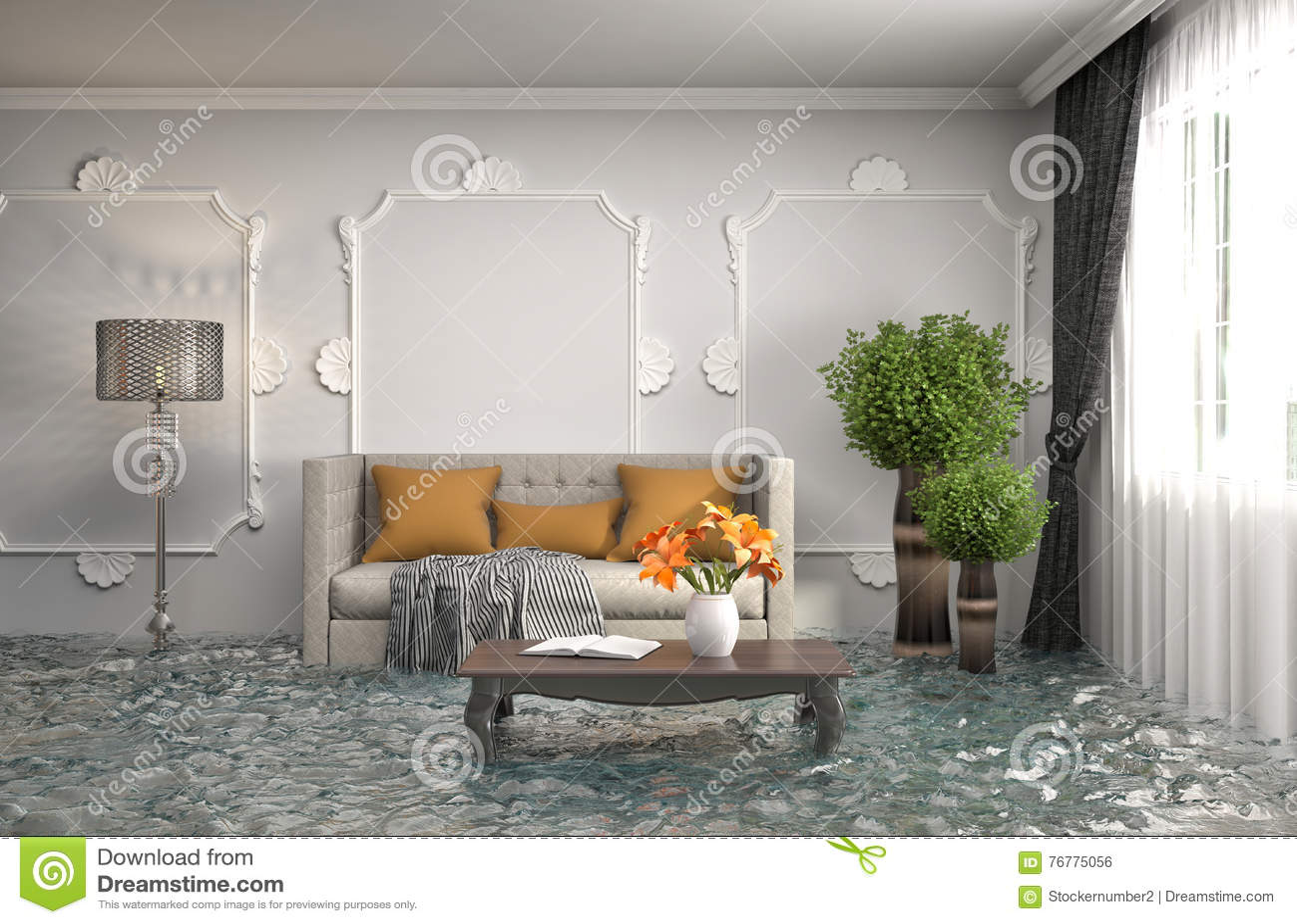 Int rieur de la maison inond e avec de l 39 eau illustration for L interieur de la maison