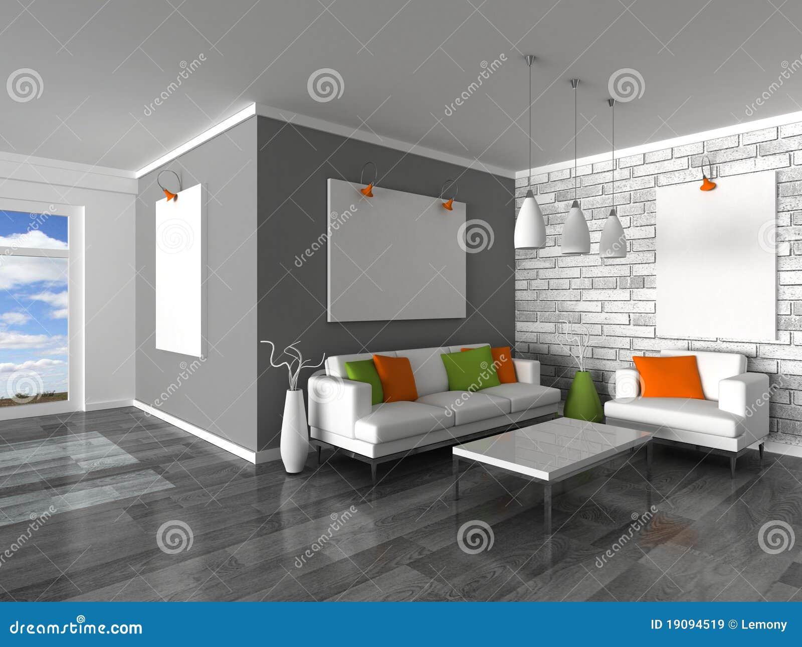 Intérieur De La Salle Moderne, Du Mur Gris Et Du S Blanc ...