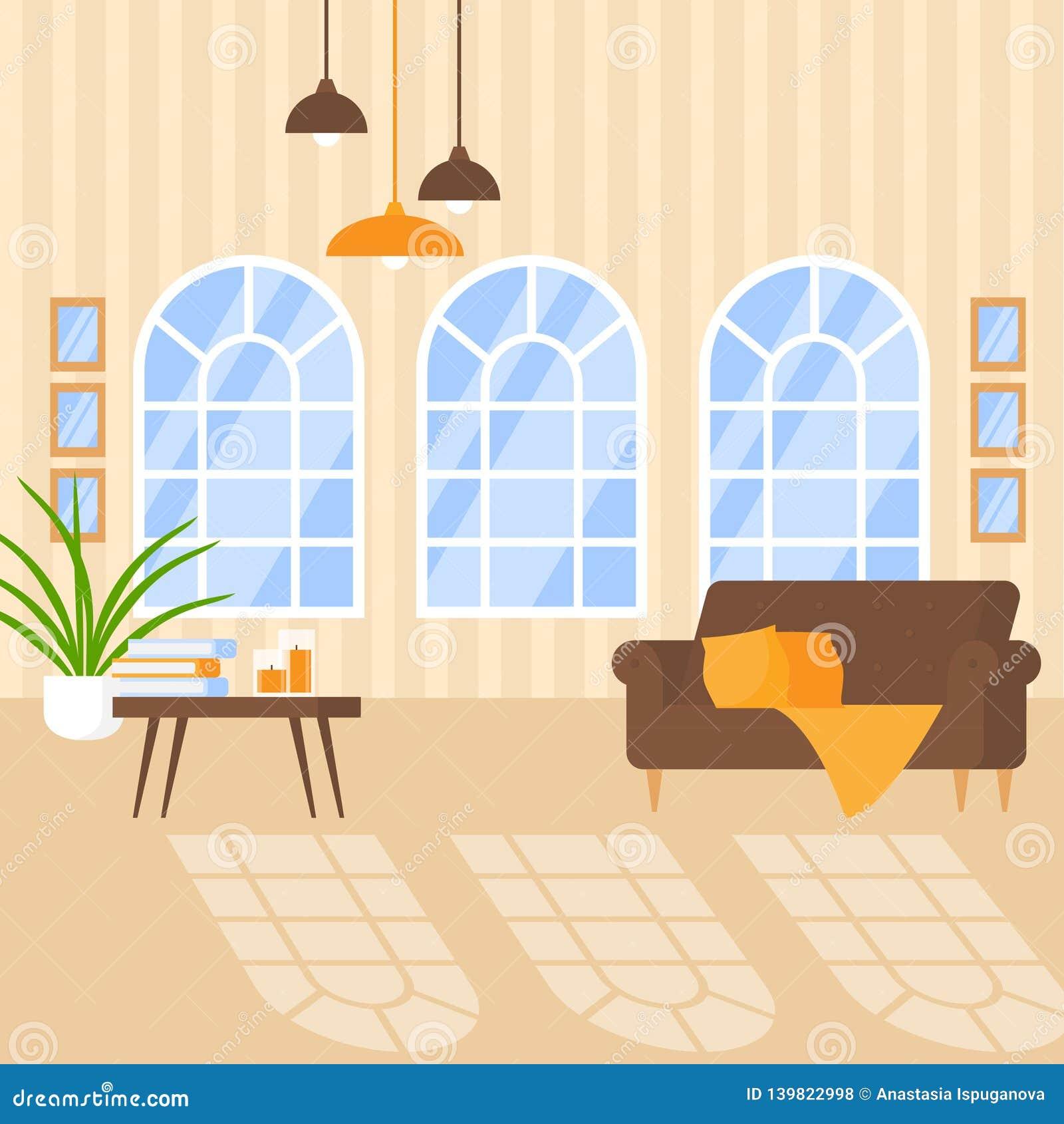 Intérieur de luxe d appartement avec les meubles confortables Conception à la maison pour la maison moderne, salon plat avec la r