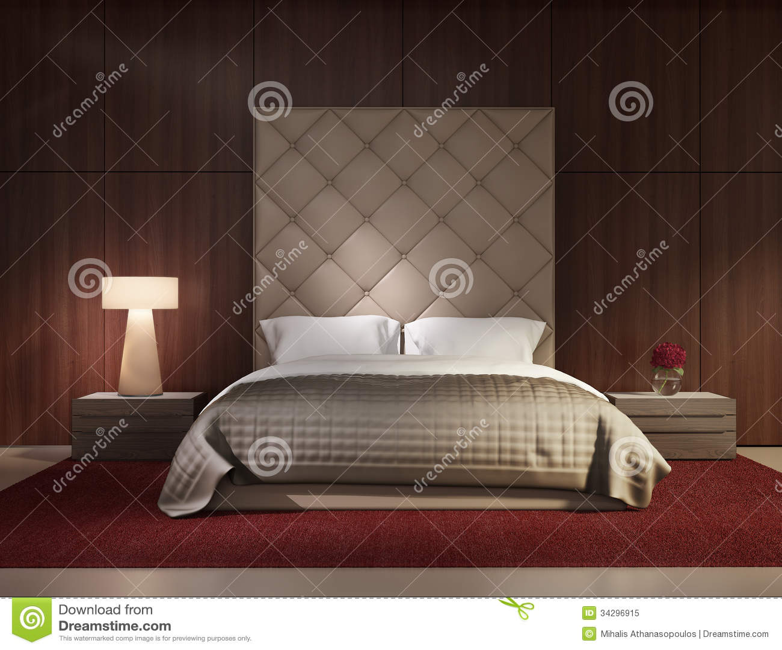 intérieur de luxe de chambre à coucher contemporaine minimale ... - Chambre A Coucher Contemporaine Design