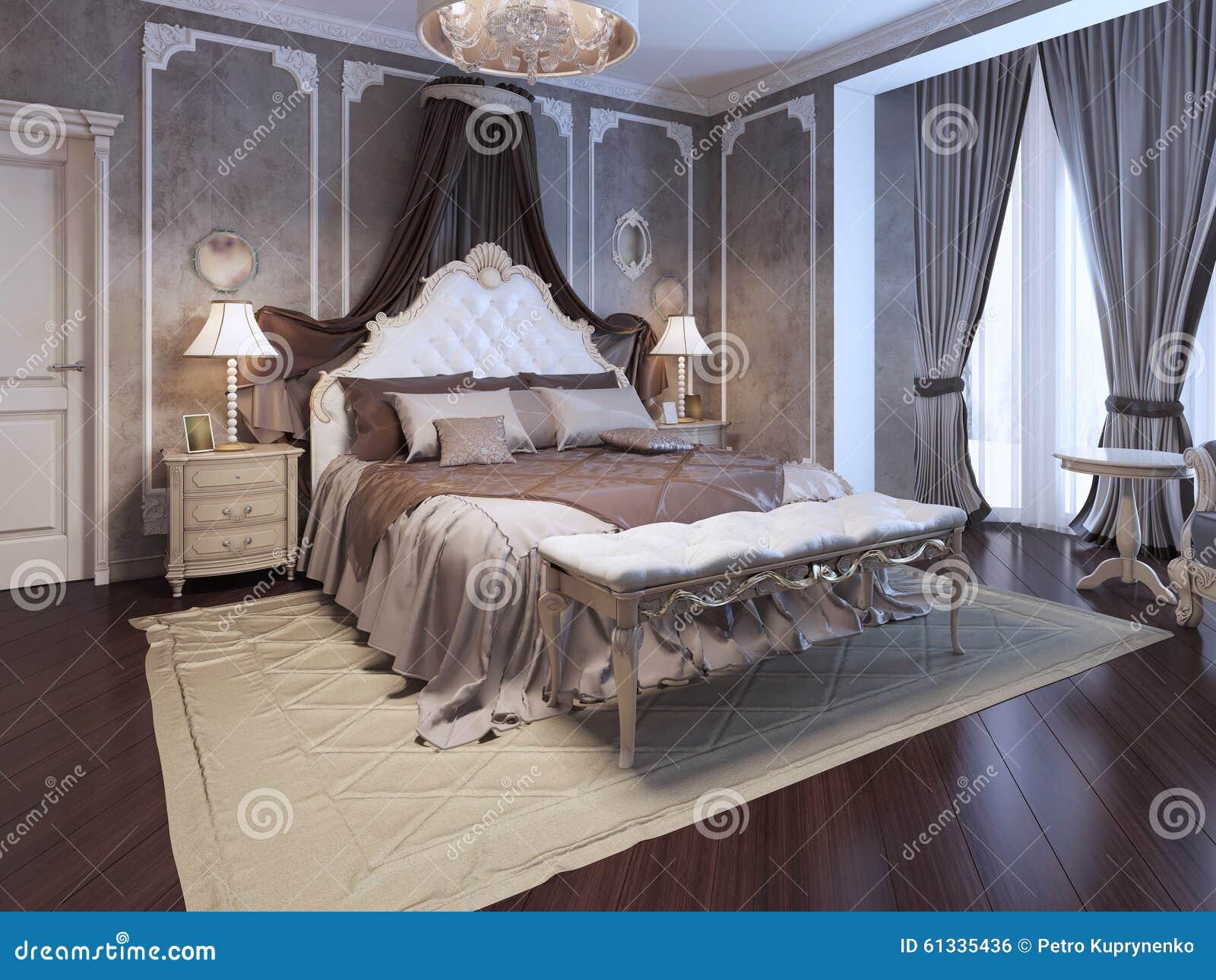 Intérieur De Luxe De Chambre à Coucher D\'art Déco Illustration ...