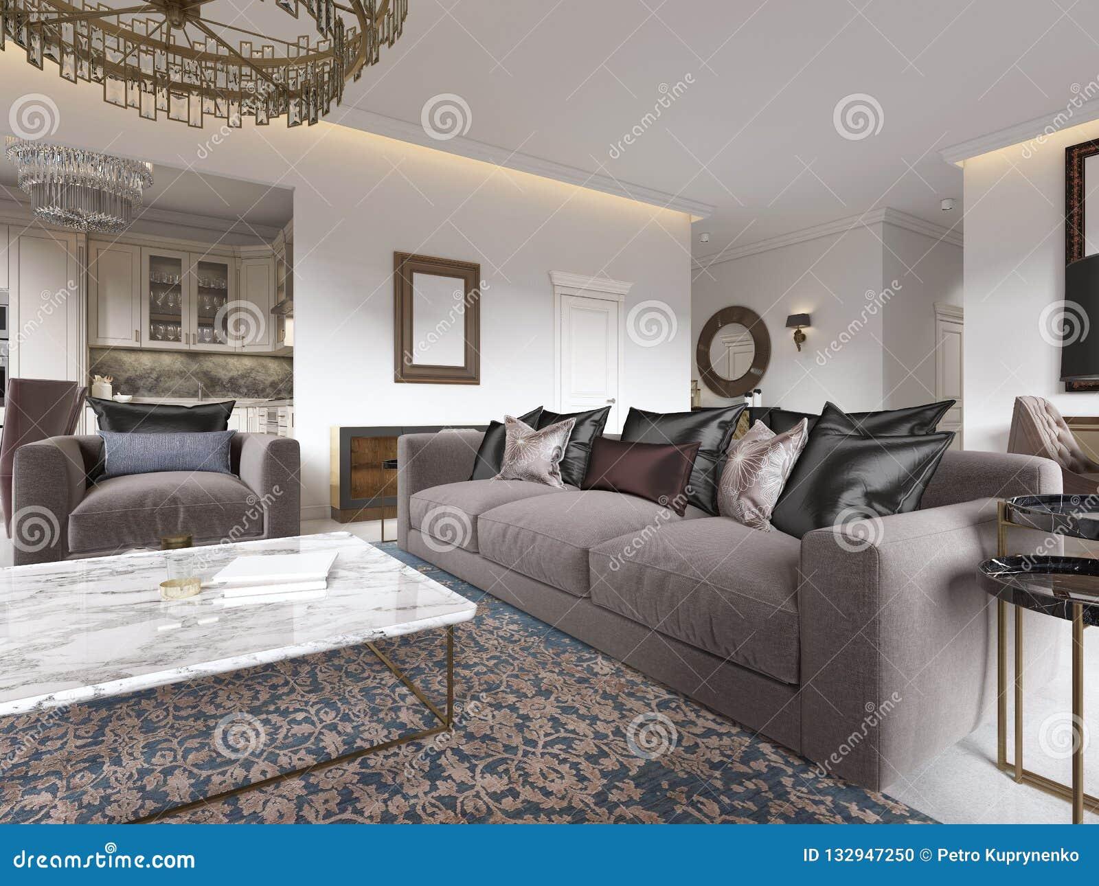 Intérieur De Luxe Moderne De Salon Avec Un Sofa Des