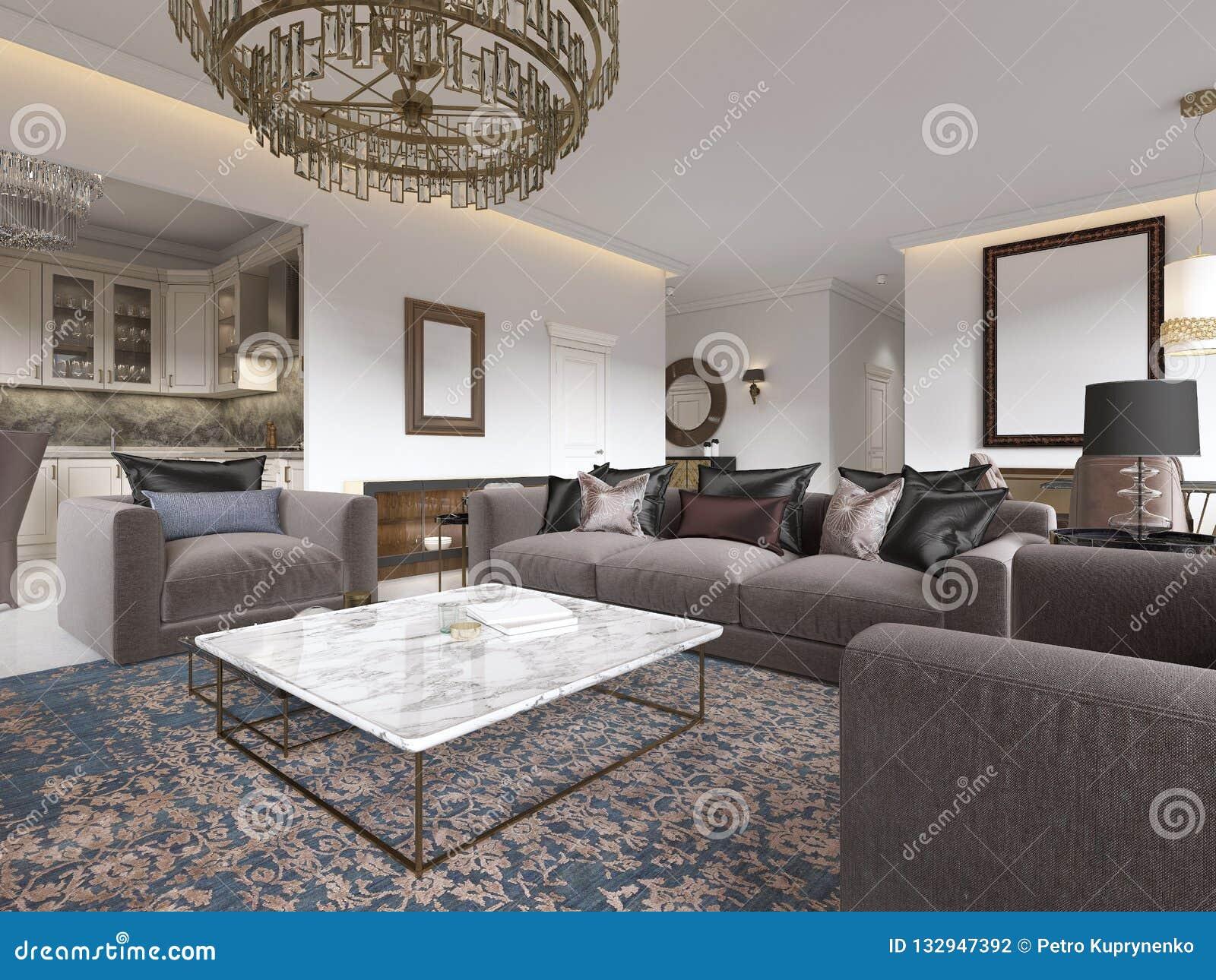 Table Basse Grand Salon intérieur de luxe moderne de salon avec un sofa, des